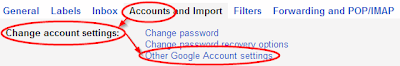 Settings->Accounts->Other Google Account settings