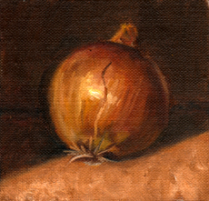 Oil painting of a brown onion with a cast shadow.