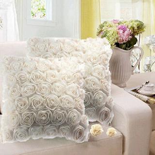 3D White Rose Pillow Cases