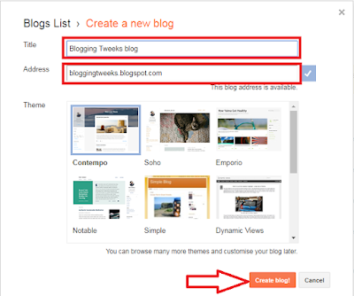 click the create blog button