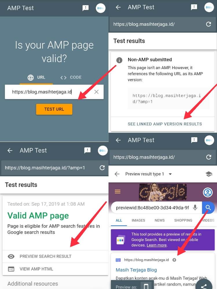 Cara Cek Blog AMP Menggunakan AMP Google Test
