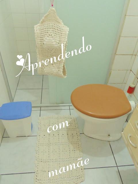 porta papel higiênico, EuroRoma, crochê, banheiro, decoração, tapete, barbante EuroRoma