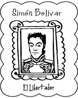 simón Bolívar caricatura dibujo para colorear