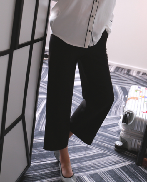 Semi-Garterized Waist Ankle Grazer Pants