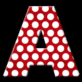 Alfabeto Rojo con Lunares Blancos.