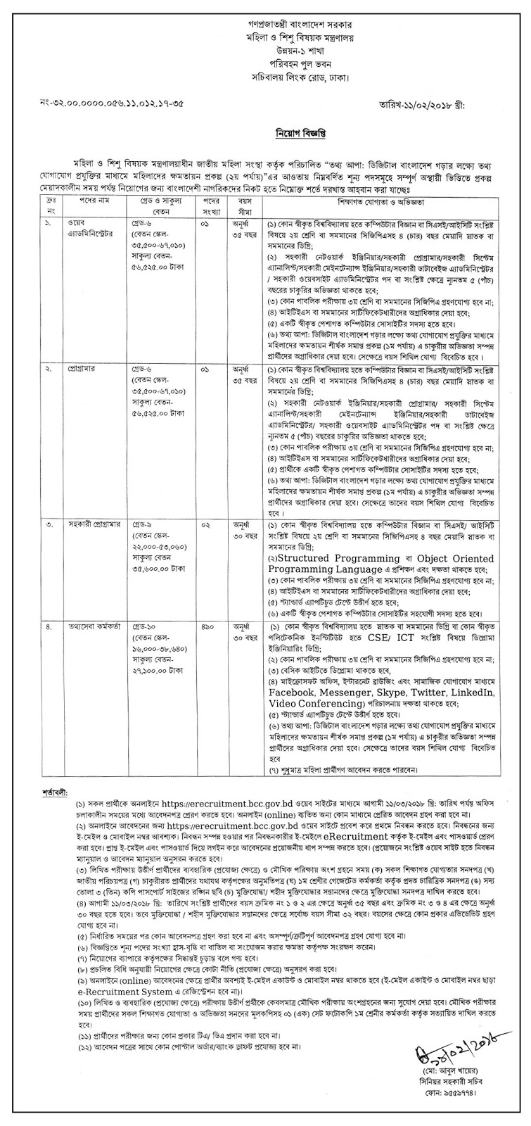 Career Opportunity at totthoapa Project 2018