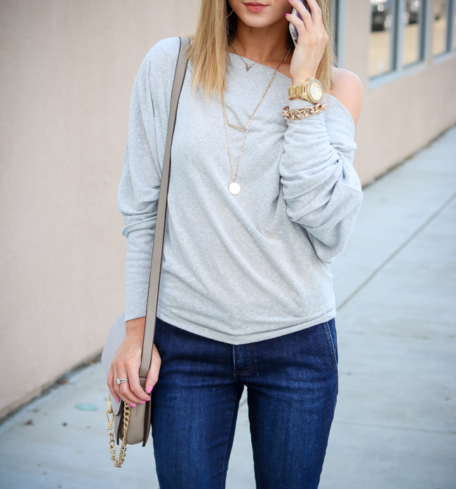 free people off the shoulder top with flared jeans