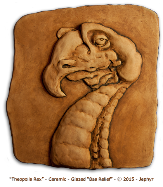 """Theopolis Rex"" - Ceramic Bas Relief - Copyright 2015 - Jephyr"