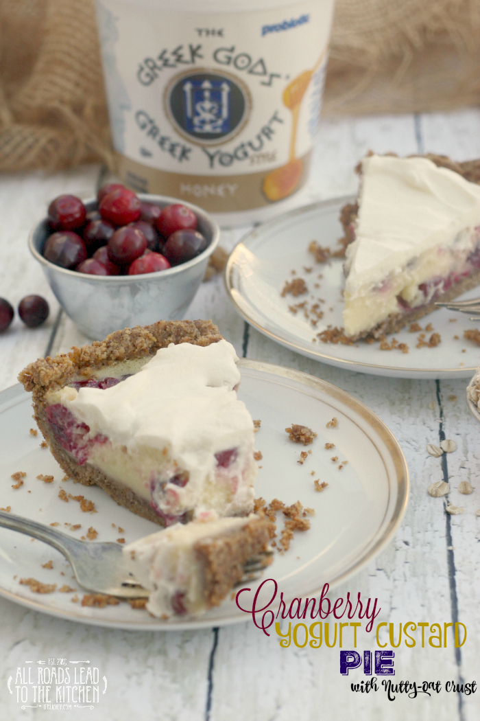 Cranberry Yogurt Custard Pie with Nutty-Oat Crust