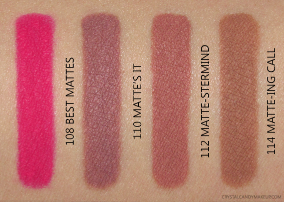 L'Oreal Paris Colour Riche Matte Lip Liners Swatches 108 110 112 114