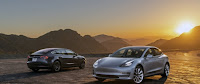 Two Tesla Model 3 (Credit: Tesla) Click to Enlarge.