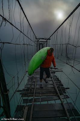 Colin, damn that bridge is sketchy, bridge wire broken fog river Arunachal Pradesh india himalayas, kayaking kayak cold morning WhereIsBaer.com Chris Baer