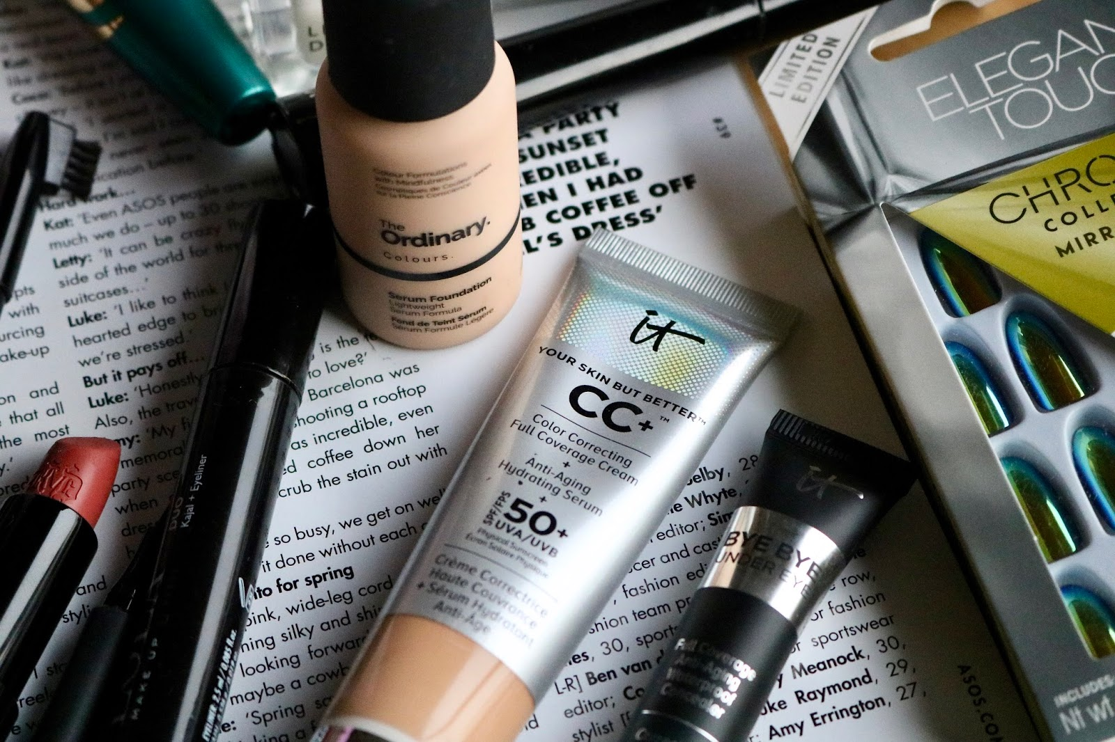 it cosmetics your skin but better cc cream, and The Ordinary Serum Foundation