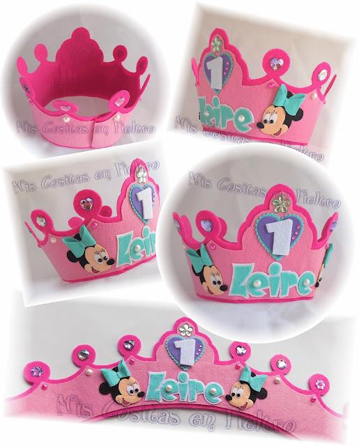 corona de cumpleaños, niños, corona de fieltro, fiesta, felt crown, coroa, feltro, aniversario, MINNIE, MINNIE MOUSE, DISNEY, MICKEY