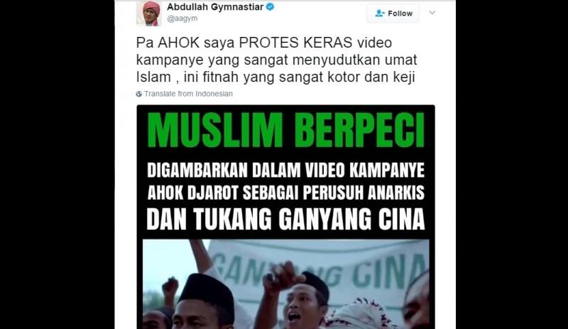 Aa Gym protes keras terhadap video kampanye Ahok