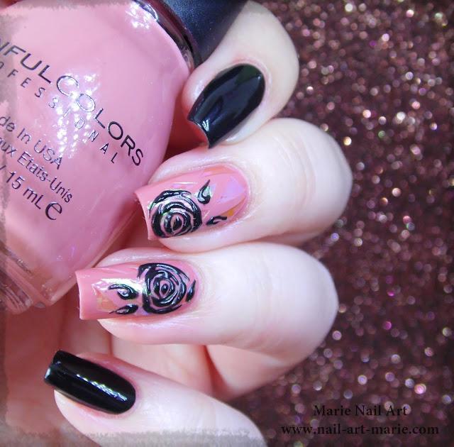 nail art roses noires en gel et glass nails1