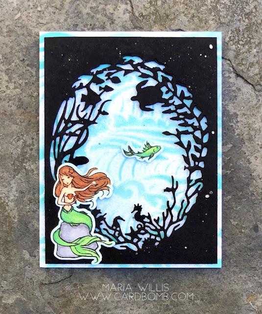 #cardbomb, #mariawillis, #heroarts, #mermaidkisses, #cards, #stamps, #stamping, #ink, #paper, #stencils, #dies, #ocean, #sealife, #handmade, #diy, #creative,
