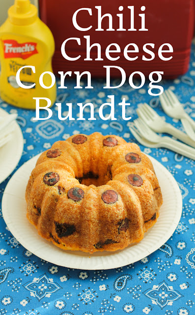 Food Lust People Love: Hot dogs and spicy beef chili are baked up in a cheesy cornbread batter to create a savory chili cheese corn dog Bundt you can slice up and serve at your next party.