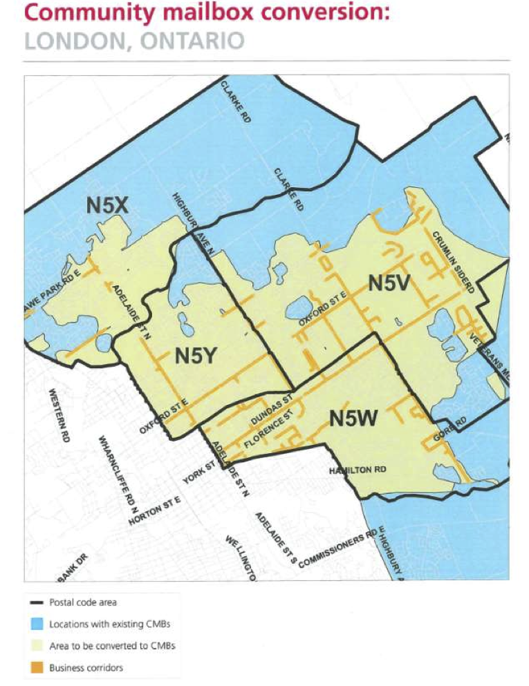 Londoners For Door To Door What Postal Code Areas Are Targeted For Super Mailbox Ssmb Conversion
