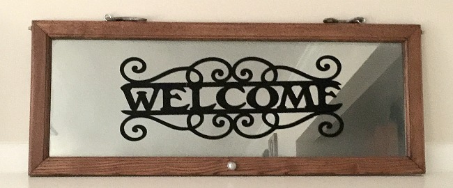 Repurposed Glass Door Welcome Sign Mirror