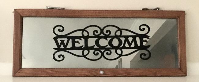 Repurposed Glass Door Welcome Sign Mirror