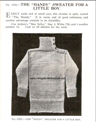 The Vintage Pattern Files: Free 1910s Knitting Pattern - Handy Jumper for a Boy
