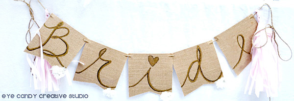 bridal shower decor, bridal shower banner, bride banner at shower, tassels