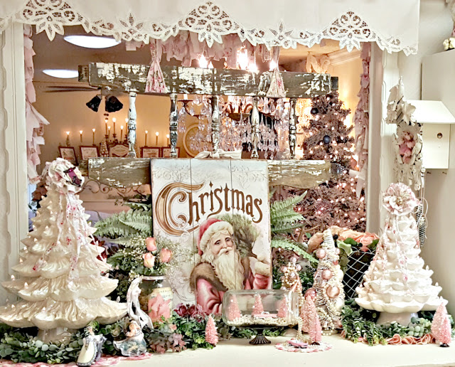 Vintage Christmas decorations pink and white
