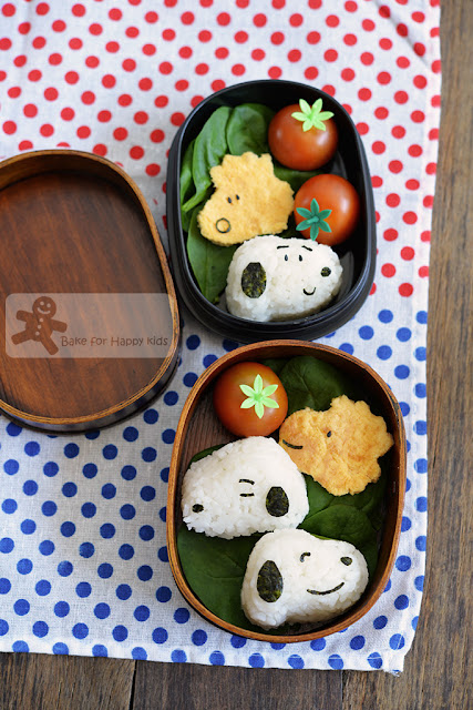Snoopy rice balls and Woodstock eggs omelette