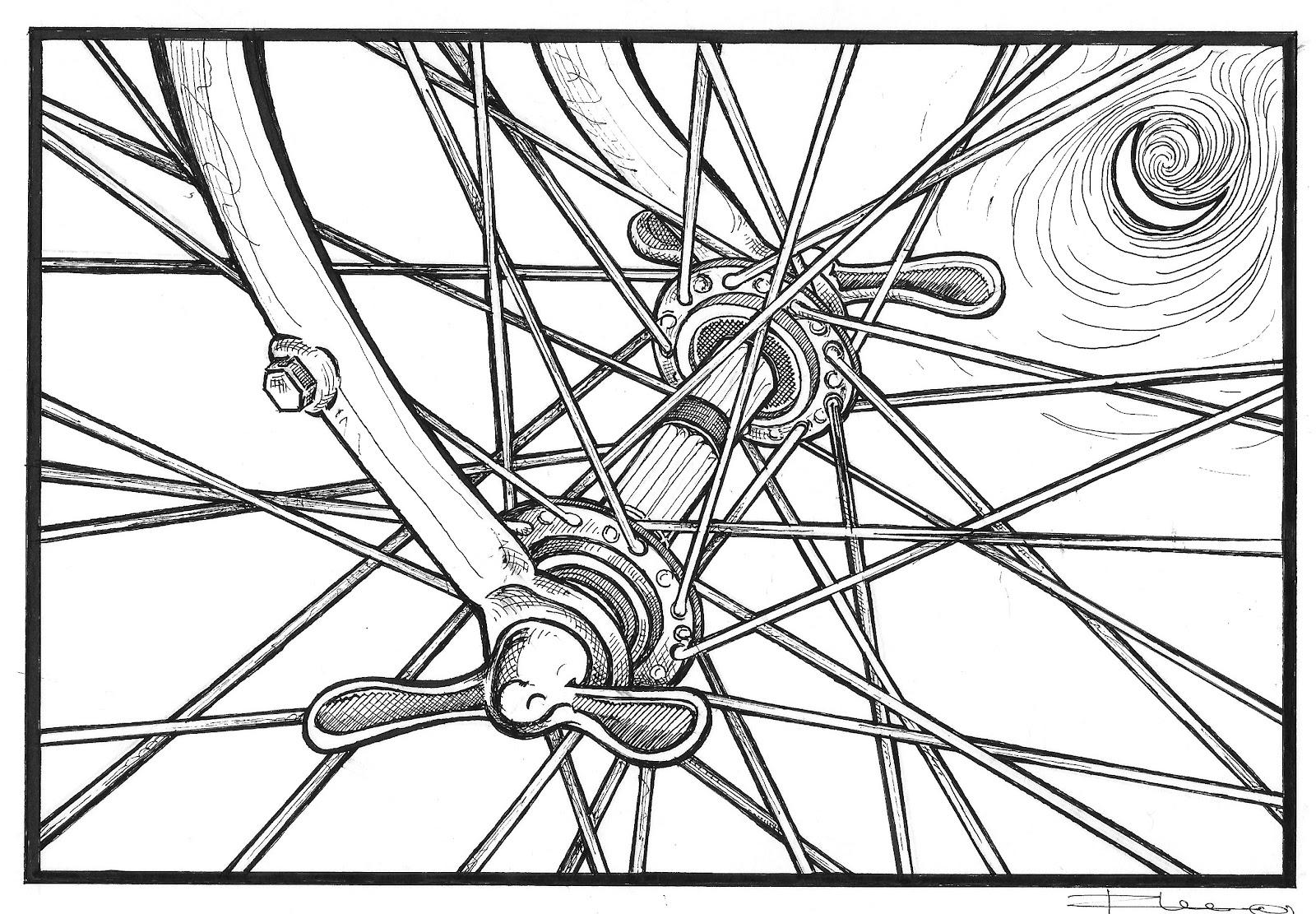 It is an image of Gutsy Bike Wheel Drawing