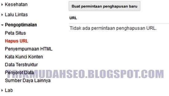 Buka HAPUS URL untuk menyingkirkan duplikat meta description dari hasil pencarian index Google
