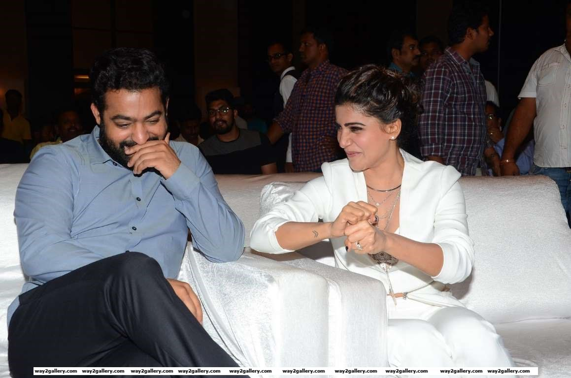 Jr NTR and Samantha Ruth Prabhu are all smiles at the success meet of Telugu film Janatha Garage