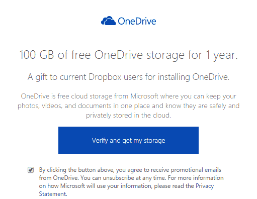 Microsoft Offers 100GB Free OneDrive Storage to Dropbox Users