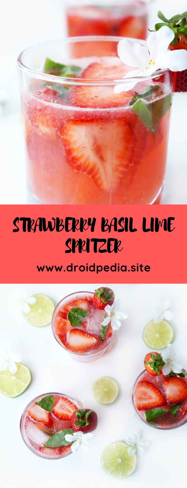 STRAWBERRY BASIL LIME SPRITZER #glutenfree #paleo #summerdrink #vegetarian