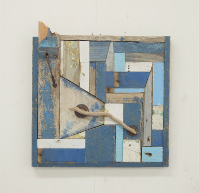 white and blue wood assemblage, reclaimed wood