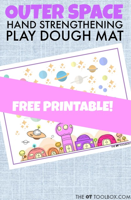 This outer space play dough mat can be used to help kids increase their intrinsic hand strength and fine motor skills, using a space theme and a fun play dough activity that boosts the hand strengthening that kids need!