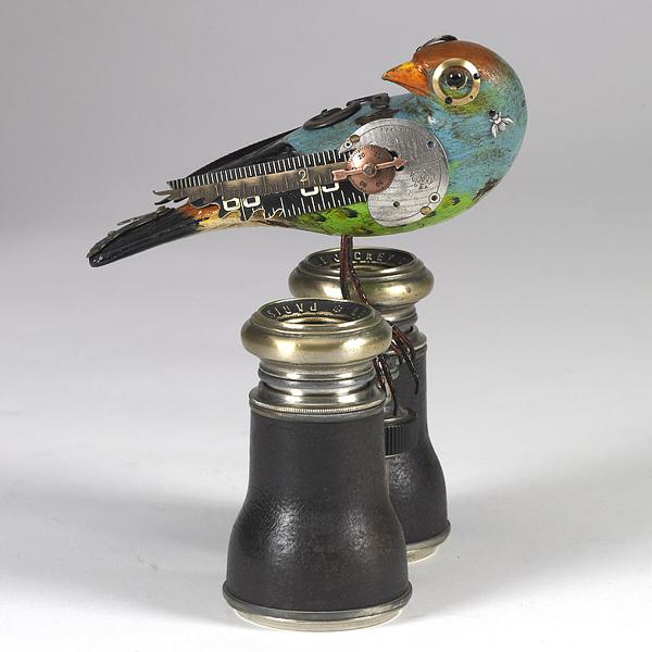 Esculturas de pájaros estilo steampunk