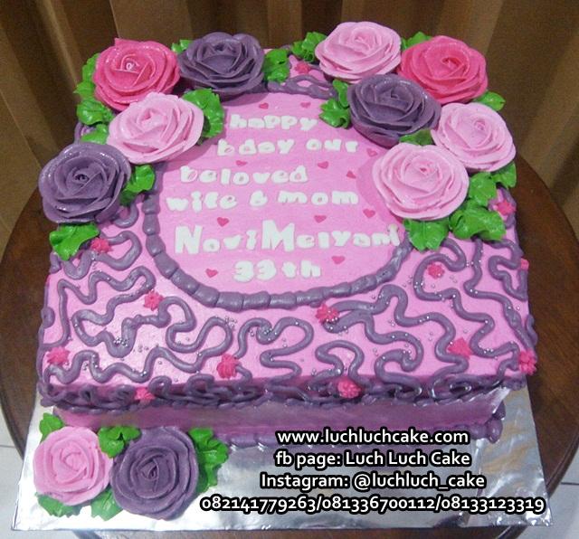 Kue Tart Bunga Pink Ungu
