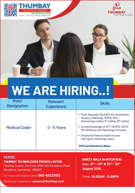 THUMBAY TECHNOLOGIES - Walk-In Interview  from 23rd to 30th Aug' 2019