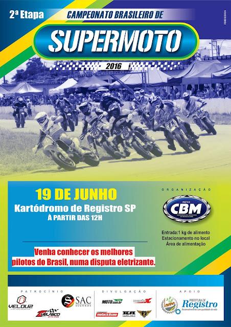 Registro-SP é palco do Campeonato Brasileiro de Supermoto neste domingo (19/06)