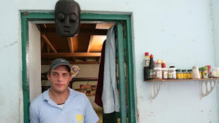 Matthew Norman, a member of the Bali Nine, outside of his cell at Kerobokan prison