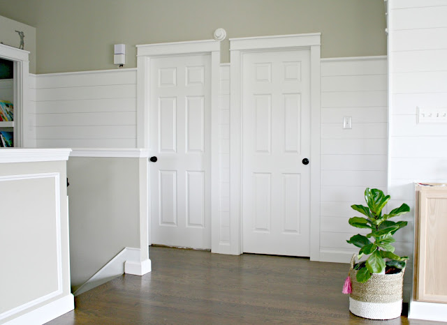 shiplap walls and farmhouse door trim