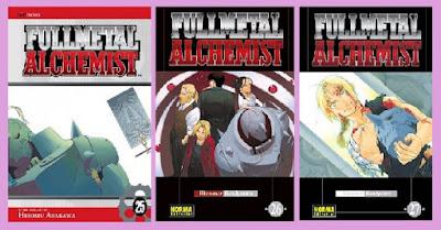 portadas de los últimos tomos del manga Fullmetal Alchemist