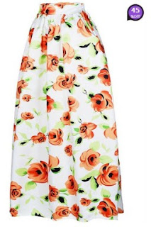 Absorbing Floral Printed Flared Maxi Skirt (Price:$ 24.01)