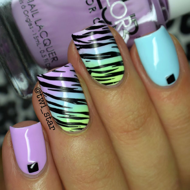 Color Club Poptastic Pastel Neon Zebra stamping nail art