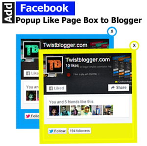 Add Facebook popup like Page box for blogger