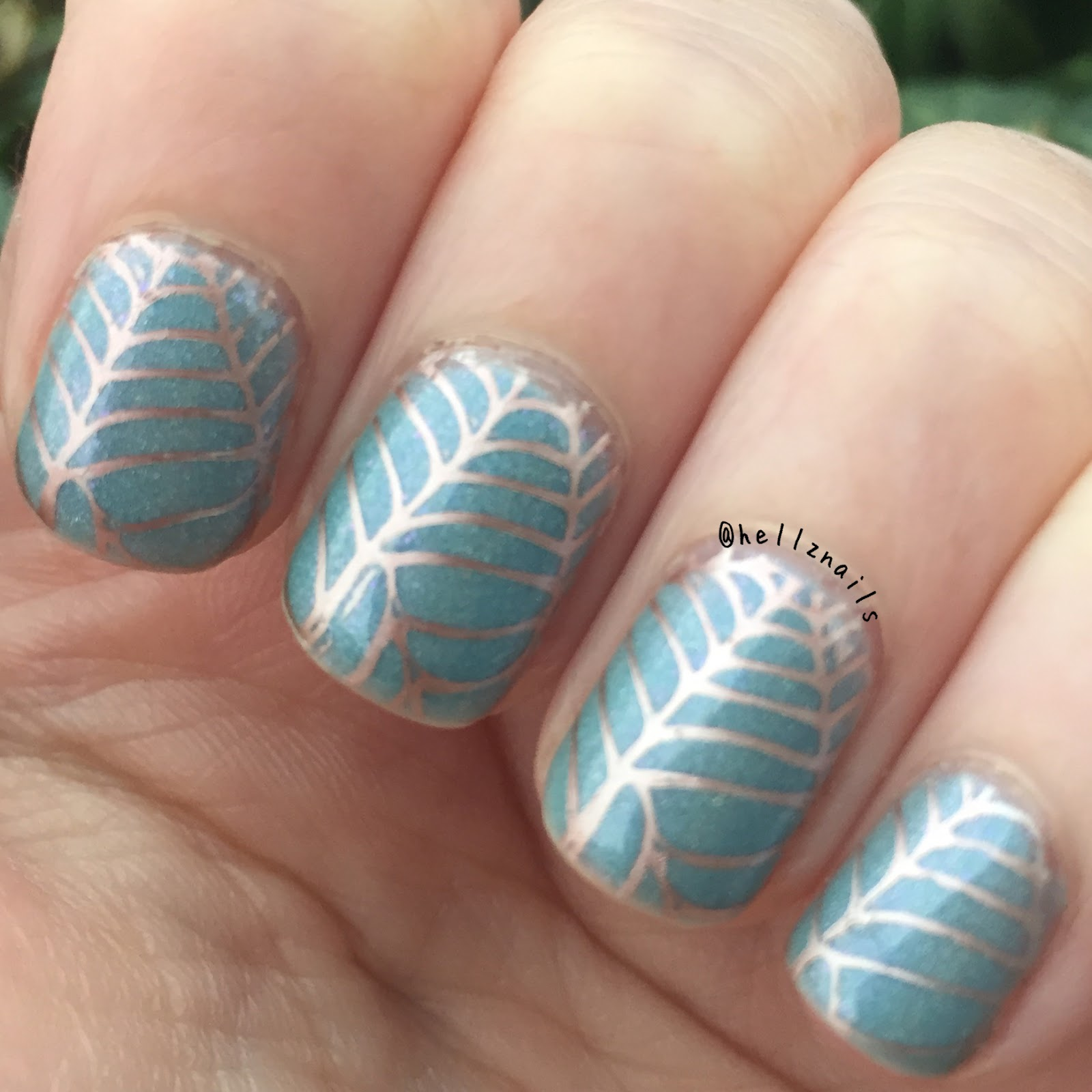 Subtle Spring stamping nail art - Hellz nails