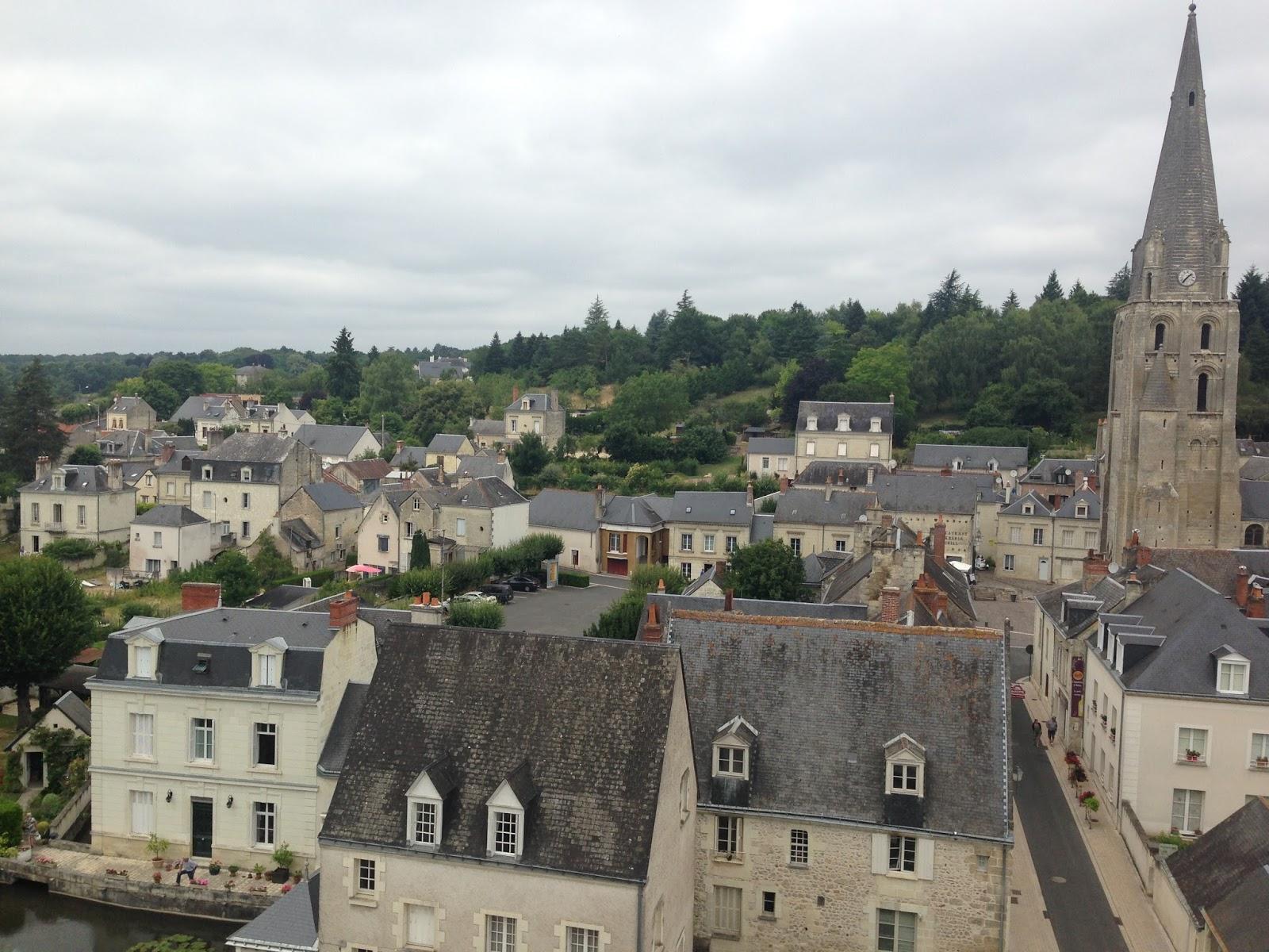 zamki z doliny Loary - widok na szare dachy miasteczka