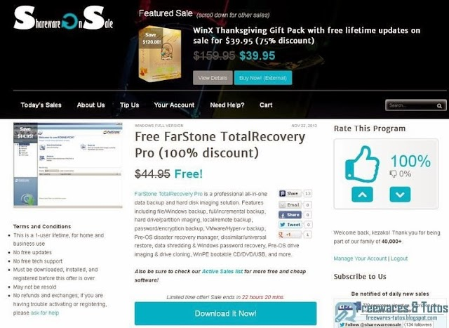 Offre promotionnelle : FarStone TotalRecovery Pro gratuit !