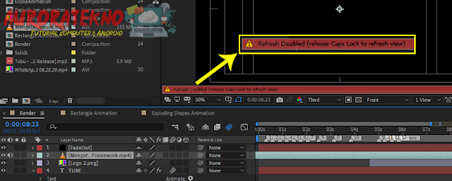 "Mengatasi After Effects ""Refresh Disabled (Release Caps Lock To Refresh View)"""